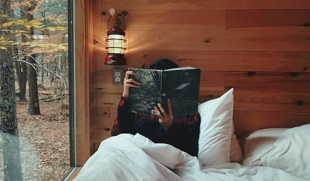 cozy reading in bed