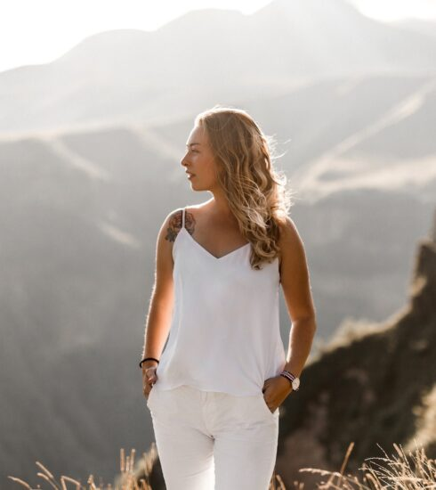 woman gazing mountains